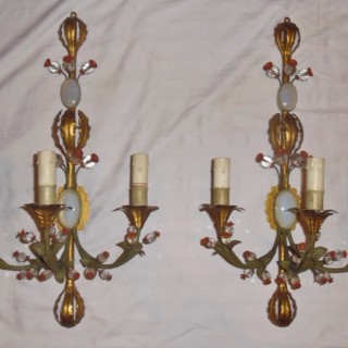 A pair of early 20th Century tole and opaline wall lights