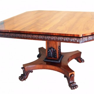Regency Rosewood Octagonal Top Antique Centre Table