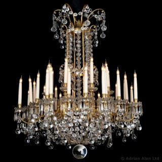 Louis XVI Style Gilt-Bronze and Cut-Glass Thirty-Two Light Chandelier