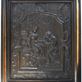 Carved Oak Panel of The Fortune Teller