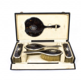 Antique Art Deco Tortoiseshell & Silver Brush Mirror Set 1923