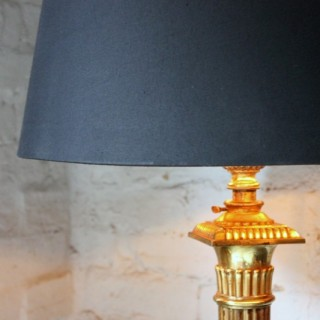 A Good Early 20thC Neoclassical Style Brass Telescopic Floor Lamp c.1920
