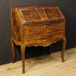 20th Century French Inlaid Bureau With Chiselled Bronzes