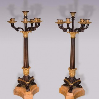 Antique pair of 19th Century French Empire bronze & ormolu Candelabra.