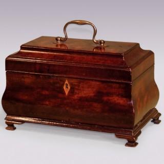 18th Century mahogany bombée form Tea Caddy.