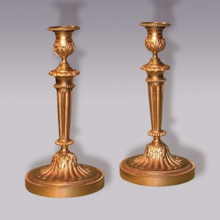 Antique pair of French Louis XV style Ormolu Candlesticks