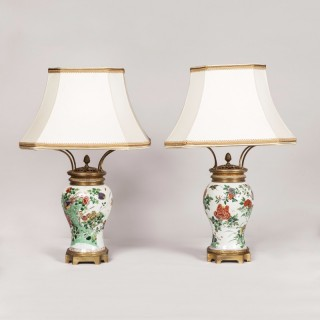 Pair of Baluster Form Chinese Vases as Lamps