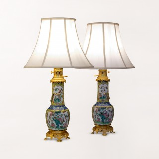 A Pair of baluster form Chinese lamps