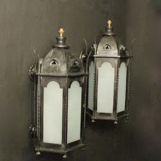 English Gothic Bronze Antique Wall Lanterns
