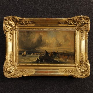 19th Century French Seascape Painting With Gilt Frame
