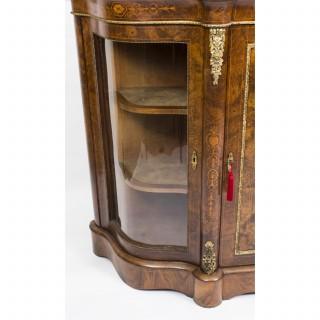 Antique Victorian Burr Walnut Inlaid Ormolu Mounted Credenza c.1860