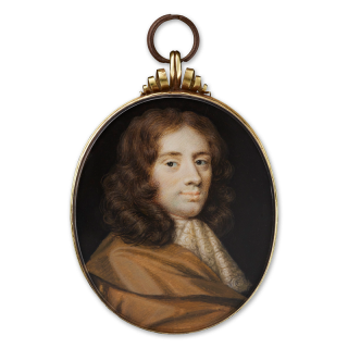 Portrait miniature of a Gentleman wearing ochre-coloured cloak and white lace cravat, his hair worn curled and long