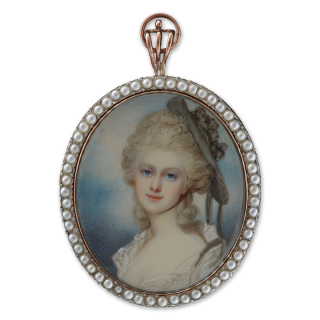 Portrait miniature of a Lady, wearing white dress with open lace collar, a black hat decorated with a black rosette over her powdered hair, c.1785