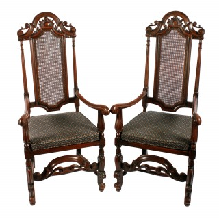Pair of 17th Century Style Arm Chairs