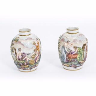 Antique Pair Capodimonte Porcelain Urns Vases Jars c.1900