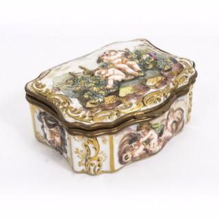 Antique Italian Capodimonte Porcelain Casket Pill Box C1890