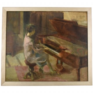 Art Deco painting woman playing the piano, oil on canvas.