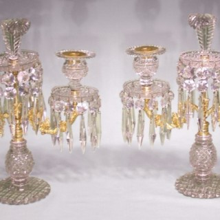 A pair of Regency cut glass Lustre Candelabra.