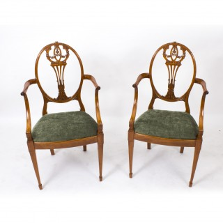 Antique Pair Sheraton Revival Satinwood Armchairs C1870