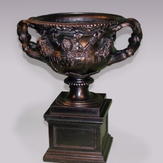 Antique early 19th Century cast-iron Warwick Vase.