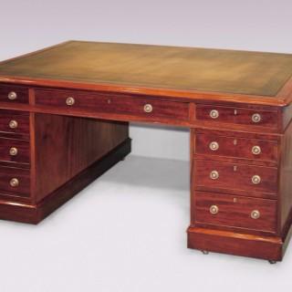 Antique mid 19th century mahogany Library Partner's Desk.