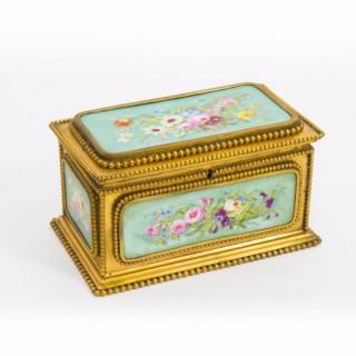 Antique Porcelain & Ormolu Jewel Casket Box by Tahan c.1870