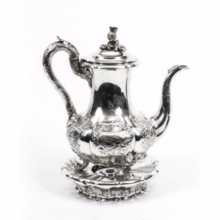 Antique Paul Storr Sterling Silver Coffee Pot on Stand 1837