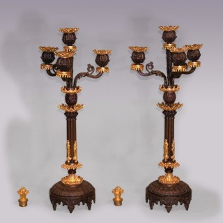 Pair of 19th Century bronze and ormolu 4-light Candelabra.