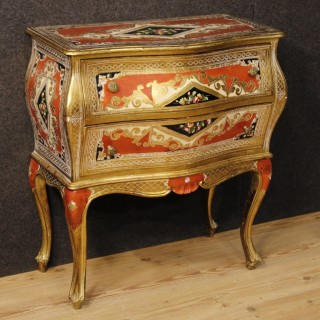 20th Century Italian Lacquered , Painted And Gilt Commode