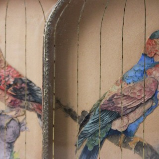 A Charming & Unusual Pair of Early 19thC Continental Appliqué Paper Pictures In The Form of Caged African Parrots c.1800-25