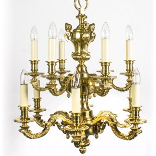 Antique French Louis XIV Style twelve branch ormolu chandelier C1900