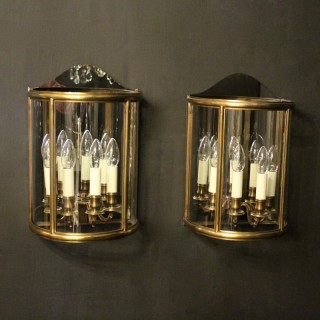 French Pair 4 Light Bronze Half lanterns