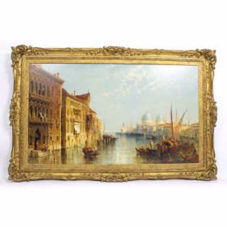 Antique Oil Painting At The Mouth of The Grand Canal Venice J.Vivian