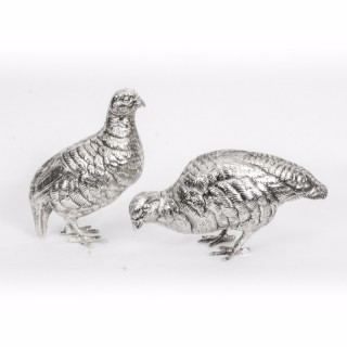 Antique Pair of Silver Plated Bronze Partridges C1900