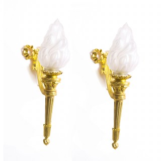 Antique Pair Ormolu & Glass Flaming Torches Wall lights c.1920