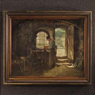 19th Century Signed Interior Scene Painting
