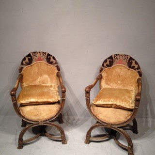 Pair of 19th century painted armchairs