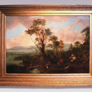 Early 19th Century Oil on Canvas 'A Stag Hunt' after original by Philip Wouwermans.
