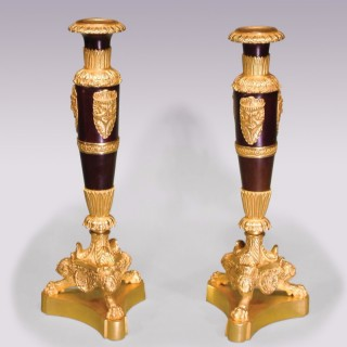 Pair of 19th Century French Empire bronze & ormolu Candlesticks.