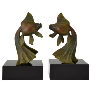 French Art Deco bronze goldfish bookends