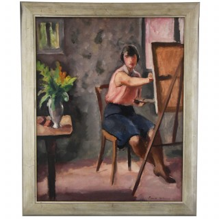 French Art Deco painting of a woman painter in an interior