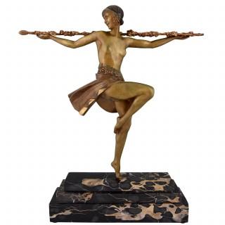 French Art Deco bronze sculpture nude dancer with thyrsus