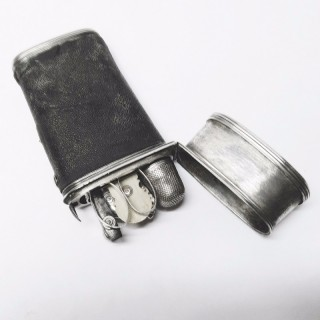 Antique Silver and Shagreen Etui