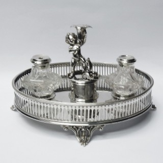 Antique Silver Plated Ink Stand