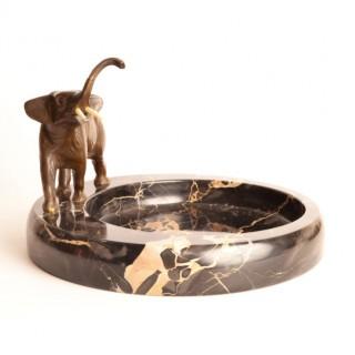 Antique Bronze Elephant Sculpture Marble Bowl c.1920