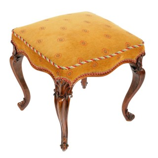 Victorian Rosewood Cabriole Leg Stool