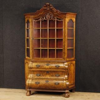 20th Century Dutch Display Cabinet In Walnut Wood