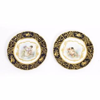 Antique Pair Sevres Cabinet Plates & Amorini x Boucher C1900