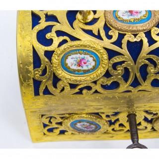 Antique Gilt Bronze Sevres Porcelain Inset Casket C1860