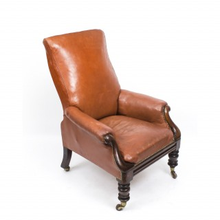 Antique William IV Brown Leather Armchair C1830